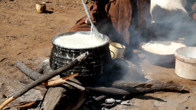 CU Himba Woman Cooking On Log Fire video