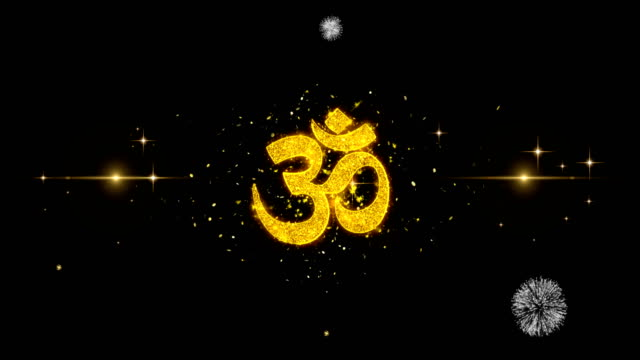 Hindu Om  Icon on Glitter Golden Particles Firework.