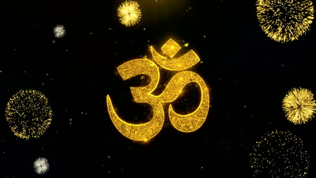 Hindu Om  Icon on Gold Particles Fireworks Display.