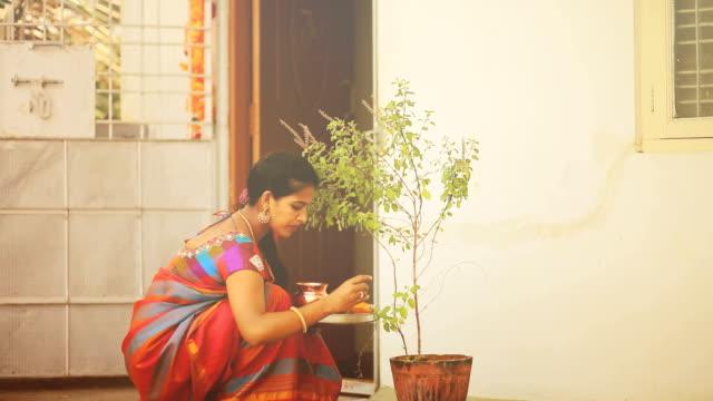 vídeos y material grabado en eventos de stock de mujer hindú adora planta albahaca - hinduismo