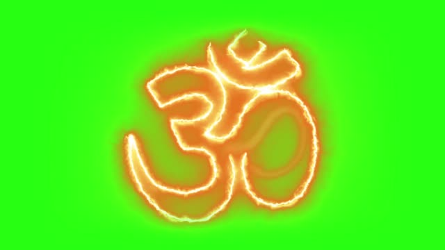 hinduismus symbol brennt in flammen in grünbildschirm-background - meditation icon stock-videos und b-roll-filmmaterial