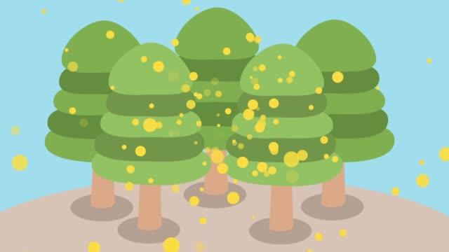hinoki pollen scatters - kawaii video stock e b–roll