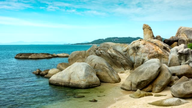 Hinta Hinyai stones of Lamai beach Samui island Thailand, landmark of Samui island. video