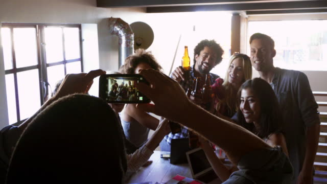 MONTAGE - Hipster Startup Small Business Team Group Celebrating Selfie Office video