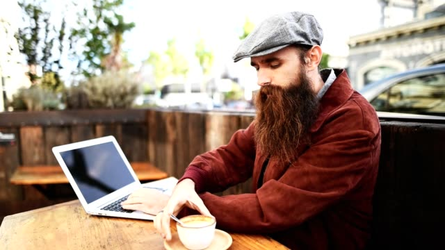 hipster take a coffe on a cafe in san francisco video