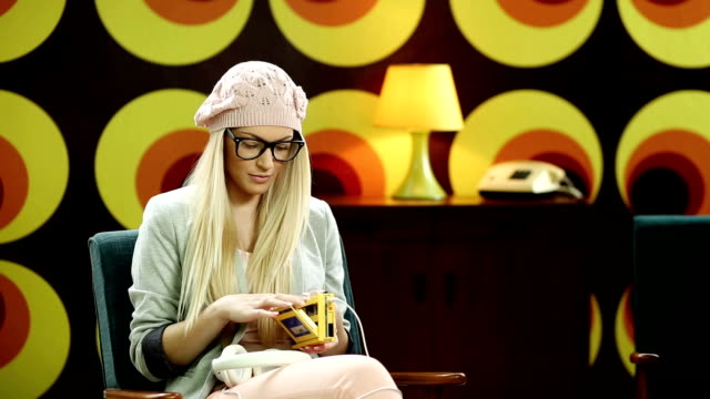 Hipster Woman Listening To Music video