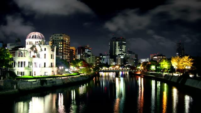 hiroszima w nocy, japonia - hiroshima filmów i materiałów b-roll