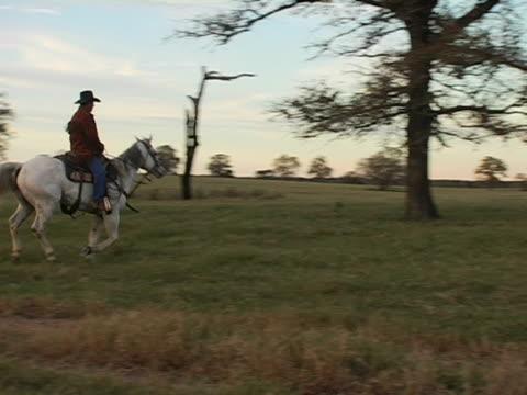Hispanic Cowboy Rides White Horse on Texas Ranch 3