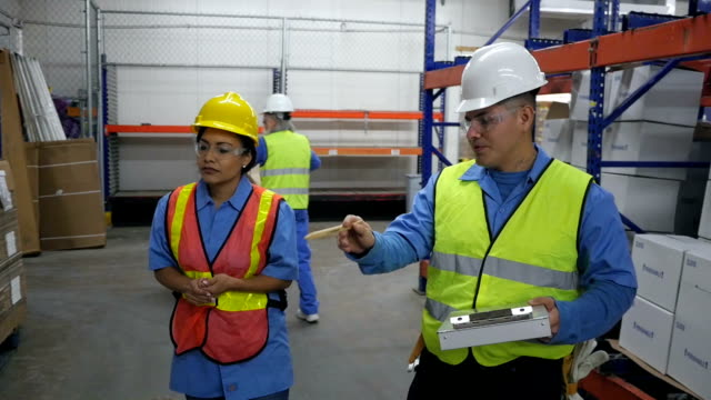 Hispanic coworkers doing inventory in shipping distribution warehouse video
