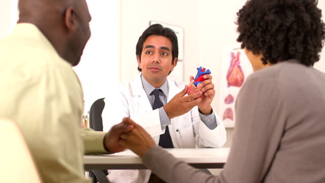 Hispanic doctor talking to African American couple about heart problems video