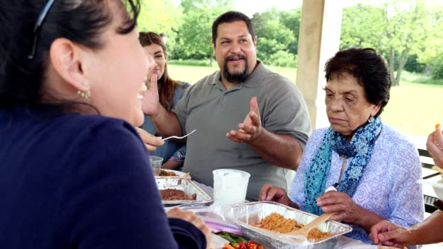 Hispanic family enjoying a meal together at a family reunion Mature Hispanic man gestures as he shares a memory or tells a story during a family reunion. They are having lunch around a picnic table in a park on a sunny day. latin american and hispanic ethnicity stock videos & royalty-free footage