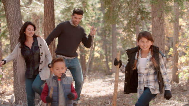 Hispanic Family Hiking In Forest Walk Out Of Shot Right Side Video