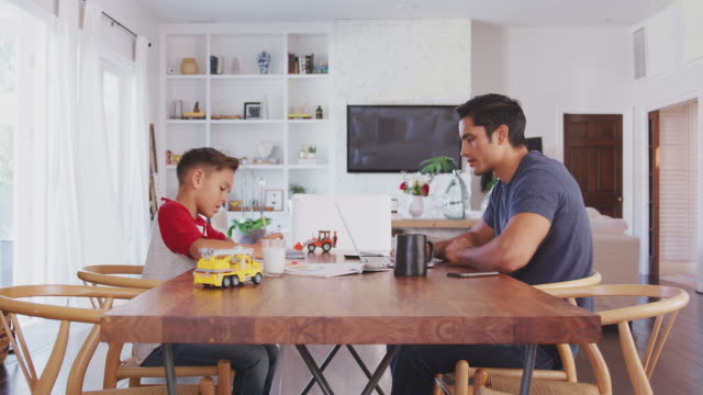 hispanic father and son working opposite each other at the dining room table, side view, close up - padre single video stock e b–roll