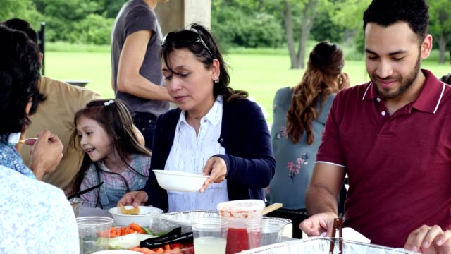 Hispanic woman talks with family members during family picnic