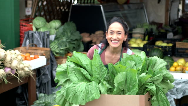 Hispanic woman working at produce stand video