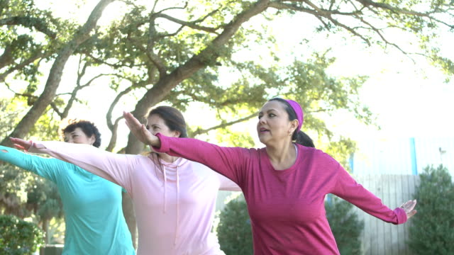 Hispanic women in park practicing tai chi A group of three Hispanic woman exercising together in the park, practicing tai chi. The one in the blue hooded shirt is a senior woman in her 60s. Her friends are mature women in their 50s. 50 59 years stock videos & royalty-free footage