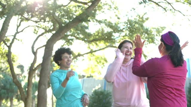 donne ispaniche nel parco che praticano il tai chi - fare video stock e b–roll