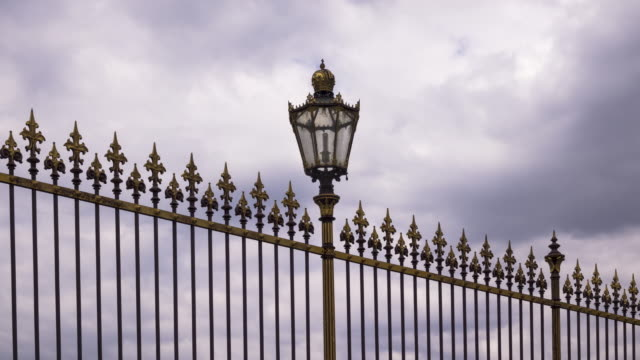 Historic Fence Vienna With Moving Clouds Time Lapse 4k: Historic Fence With Moving Clouds wrought iron stock videos & royalty-free footage