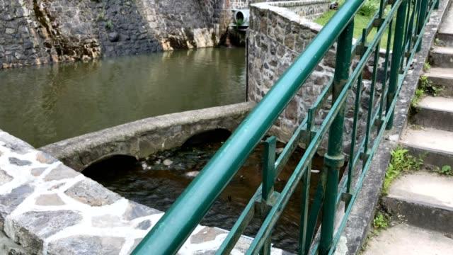 historic german dam in south west poland in zagorze slaskie near swidnica city - sud est video stock e b–roll