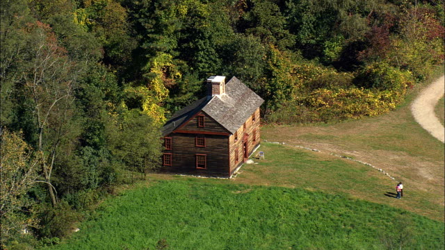 Historic House In Minute Man Park  - Aerial View - Massachusetts,  Middlesex County,  United States video