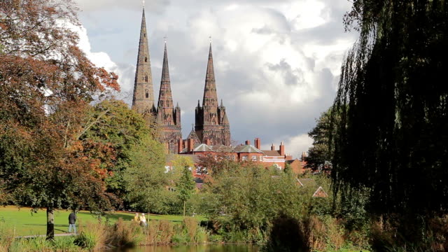 Historic Lichfield Cathedral Beautiful View Across Park River Ducks and Swans video