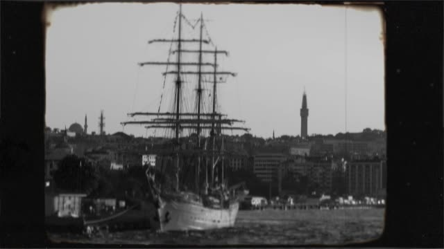 Historic old sailing frigate in the Bosphorus, Istanbul. 8mm old nostalgic footage.