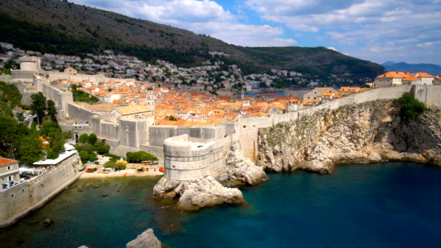 Historic wall of Dubrovnik Old Town, Croatia. Historic wall of Dubrovnik Old Town, Croatia. Prominent travel destination of Croatia. Dubrovnik old town was listed as UNESCO World Heritage Sites in 1979. fort stock videos & royalty-free footage