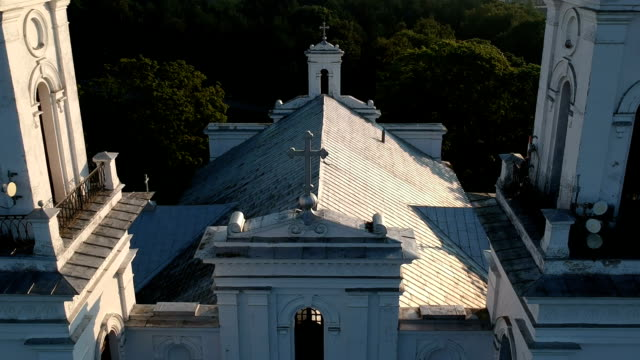 historical christianity church from landing drone - lituania video stock e b–roll