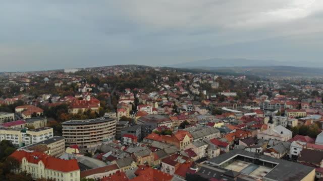 historical in the city center panoramic aerial cityscape view of uzhhorod, located in transcarpathia ukraine - transcarpazia video stock e b–roll