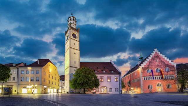 Historical landmarks of Ravensburg in the evening, Germany Historical landmarks of Ravensburg: Blaserturm (trumpeter's tower), Waaghaus (weighing house) and Town hall (Rathaus) loacated on Marienplatz square (static image with animated sky) high dynamic range imaging stock videos & royalty-free footage