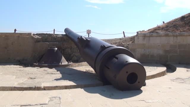 Historical mortar(weapon) in the 'Namazgah' redoubts/Canakkale           Canakkale/Turkey 09/25/2013 Historical mortar(weapon) in the 'Namazgah' redoubts/Canakkale           Canakkale/Turkey 09/25/2013 çanakkale province stock videos & royalty-free footage