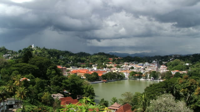 Historical part of the city with low clouds in Kandy, Sri Lanka. View to the historical part of the city with low clouds in Kandy, Sri Lanka. colombo stock videos & royalty-free footage