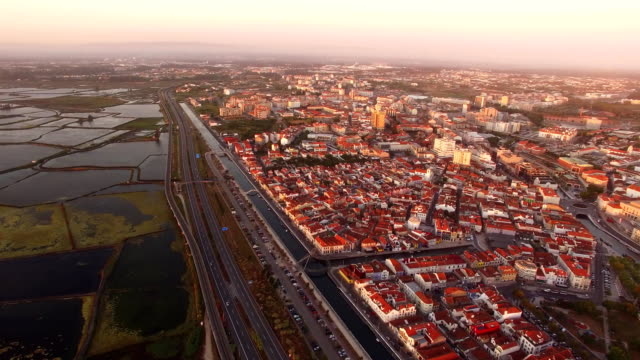 Historical salt pans in Aveiro, Portugal aerial view video