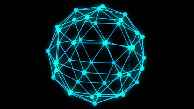 ハイテクの抽象的な多角形構造、3 d アニメーション - ローポリモデリング点の映像素材/bロール