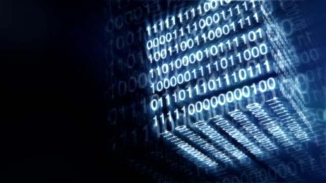 hi-tech blå digital kub bakgrund. abstrakta animation. - binär kod bildbanksvideor och videomaterial från bakom kulisserna