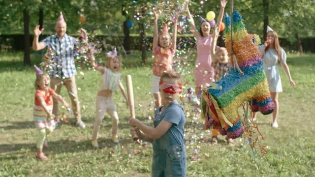 Hitting Pinata at Birthday Party video