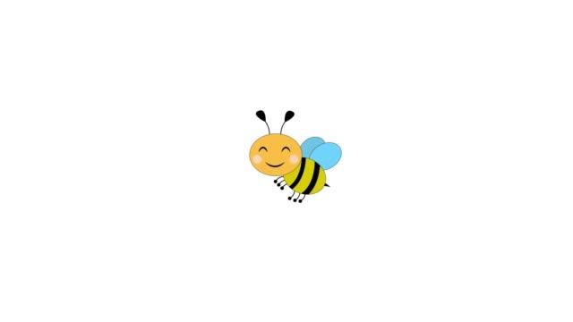 vídeos y material grabado en eventos de stock de colmena y transición de película de abejas volando sobre un fondo blanco - bee