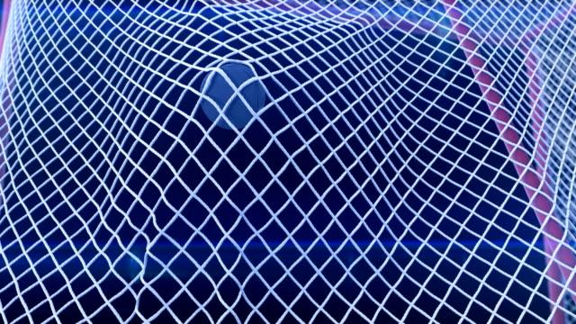 vidéos et rushes de rondelle de hockey voler dans la grille de portes au ralenti avec des fusées éclairantes spotlight sur fond noir. gros plan objectif moment. belle animation 3d sport concept. - lieu sportif