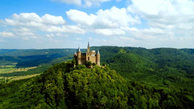 Hohenzollern Castle, Germany. Aerial FPV drone flights.