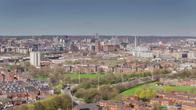 Holbeck and Leeds City Centre from Above - Drone Shot video