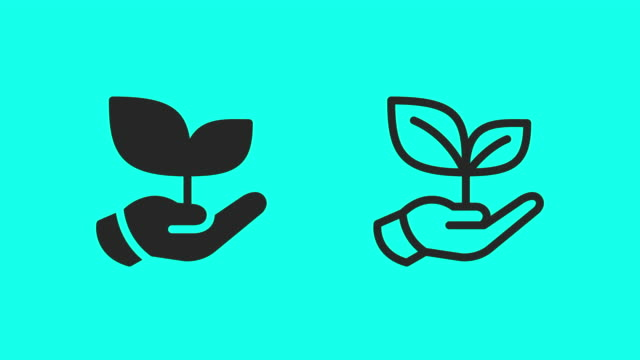 Holding Growing Plant Icons - Vector Animate