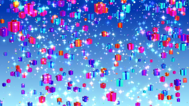 Holiday, Birthday, Christmas falling gifts background - loopable, HD