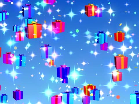 Holiday, Birthday, Christmas falling gifts background loopable - NTSC video