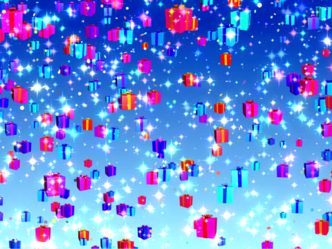 Holiday, Birthday, Christmas falling gifts background - loopable, PAL video
