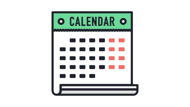 ferien-kalender flache linie symbol animation mit alpha - kalender icon stock-videos und b-roll-filmmaterial