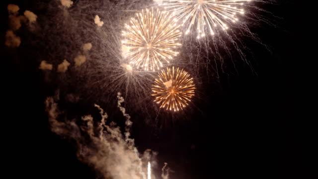 holiday fireworks on dark background - luglio video stock e b–roll