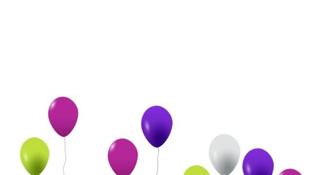alpha kanal ile tatil sorunsuz renkli uçan balonlar. - balon stok videoları ve detay görüntü çekimi