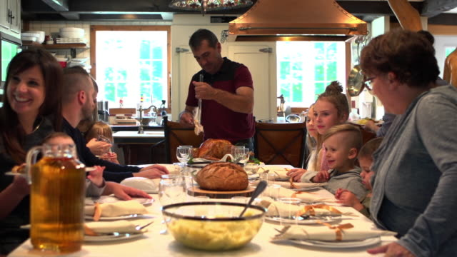 holiday season family group diner - cena natale video stock e b–roll