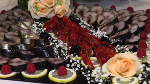 holiday table with seafood fish crayfish - buffet video stock e b–roll
