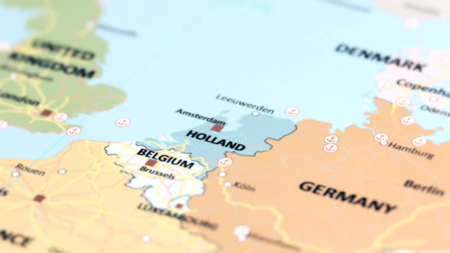 Europe Holland On World Map Stock Video - Download Video ...